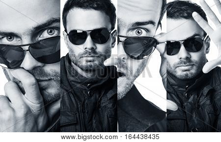 Collage of handsome young man in sunglasses over white background