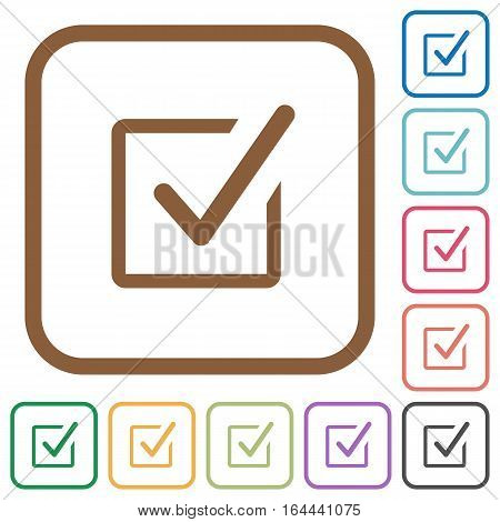 Checked box simple icons in color rounded square frames on white background