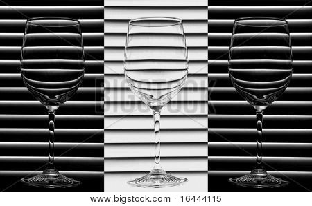 Wine Glasses - Black and White Trio