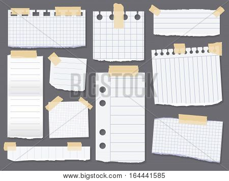 Line note papers. Scotch taped lined paper pieces. Scrap of paper for reminder message. Vector illustration