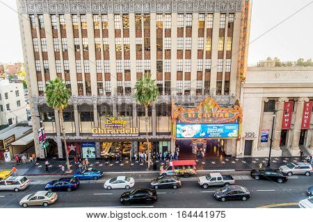 HOLLYWOOD CA - OCTOBER 12 2016: El Capitan Theater in Hollywood. El Capitan Theater is owned and operated by The Walt Disney Company.
