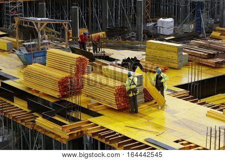 SZCZECIN,  POLAND -  January 4, 2017: The construction site of shopping center
