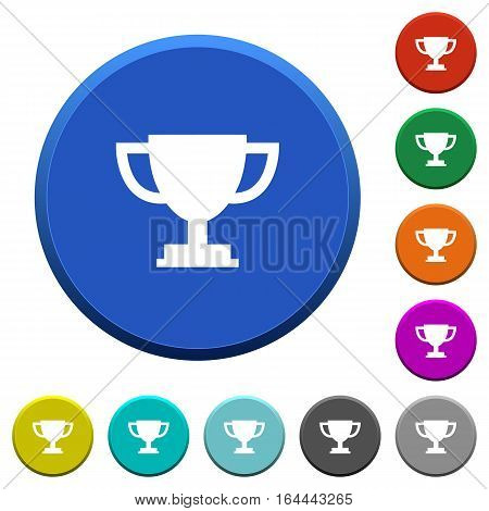 Trophy cup round color beveled buttons with smooth surfaces and flat white icons