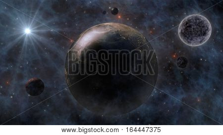 Planet Earth, The Sun, The Moon And Planets In Space 3D Rendering