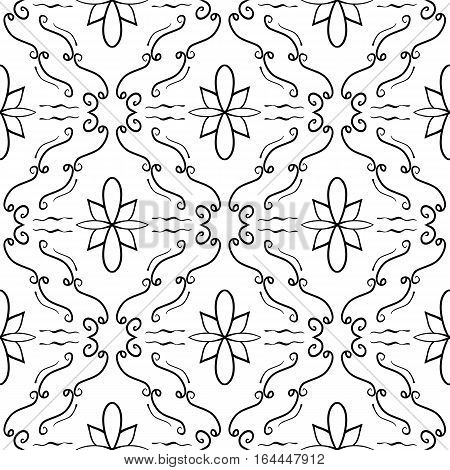 Elegant flourish seamless pattern. Black curved lines on white background. Ornate texture for webpage backgrounds. Vector. Made using clipping mask