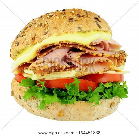 Peppered ham and cheese salad sandwich roll isolated on a white background