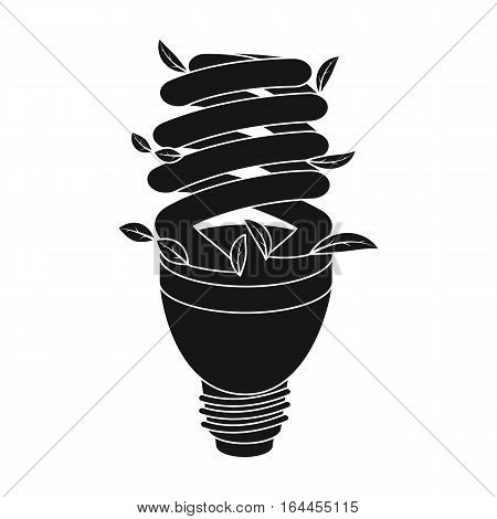 Ecological fluorescent lamp icon in black design isolated on white background. Bio and ecology symbol stock vector illustration.