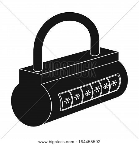 Computer password icon in black design isolated on white background. Hackers and hacking symbol stock vector illustration.