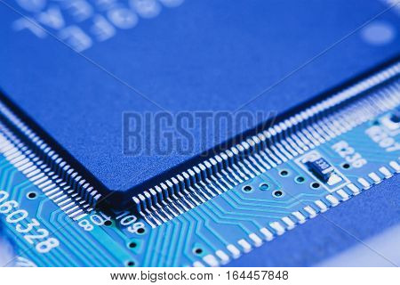 close up computer microchip integrated on motherboard