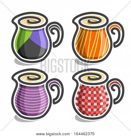 Vector set abstract icons Milk Jug: colorful minimalistic Creamer with handle, simplistic logo pitcher with swirl, small ceramic checkered creamer, sign jug with spout and stripes, isolated on white.