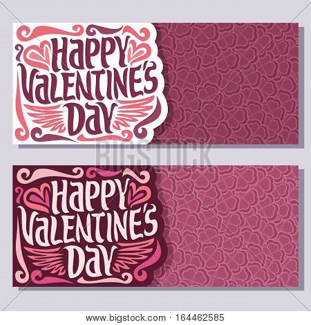Vector abstract banners for Happy Valentine's Day: floral background, pink greeting valentines card, lettering on flower pattern, horizontal banner for text holiday st valentine, heart in clover petal