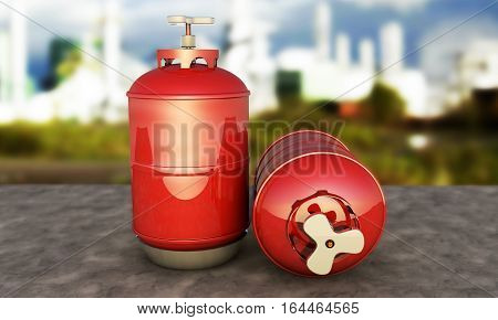red propane cylinder with compressed gas 3d render against the background of the plant