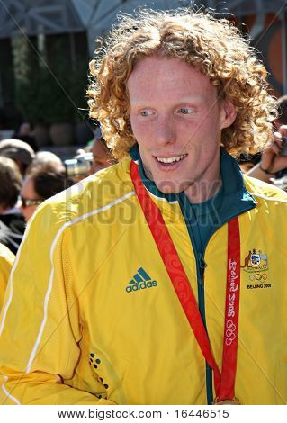MELBOURNE 17 SEPTEMBER: Gold Medalist Steve Hooker at the 2008 Olympic Homecoming Parade