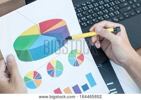 Business Technology Concept,business People Discussing The Charts And Graphs Showing The Results Of
