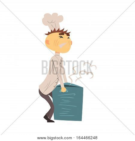 Professional Cook In Classic Double Breasted White Jacket And Toque Carrying Heavy Hot Soup Pot. Colorful Vector Chef Cartoon Character Cooking In Restaurant Kitchen Illustration.