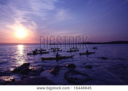 Kayaks at Sunset in Freycinet National Park, Tasmania