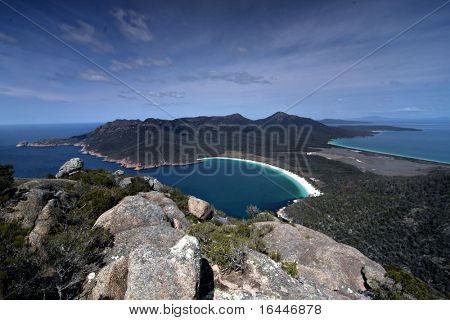 View of Wineglass Bay from Mt Amos -Freycinet National Park Tasmania