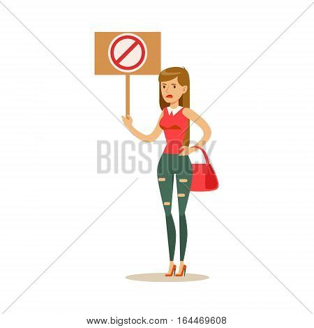 Woman In Ripped Jeans On Heels Marching In Protest With Banner, Screaming Angry, Protesting And Demanding Political Freedoms. Citizens On Demonstration Against Establishment Demonstrating Disagreement With Situation.