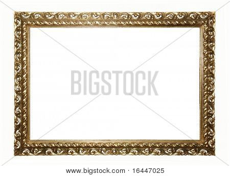 Empty Ornate Gold Picture Frame, isolated on white background