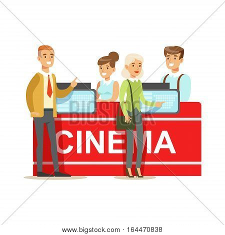 Cinema Visitors Buying Tickets At Counter, Part Of Happy People In Movie Theatre Series. Vector Illustration With Cartoon Characters Indoors At The Movies