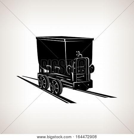 Silhouette coal mine trolley, mining industry, coal mining