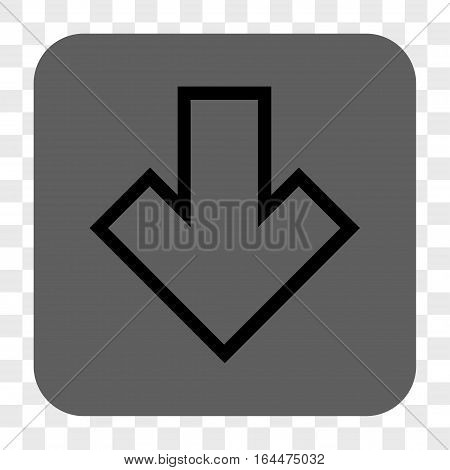 Arrow Down interface toolbar button. Vector icon style is a flat symbol inside a rounded square button black and gray colors chess transparent background.