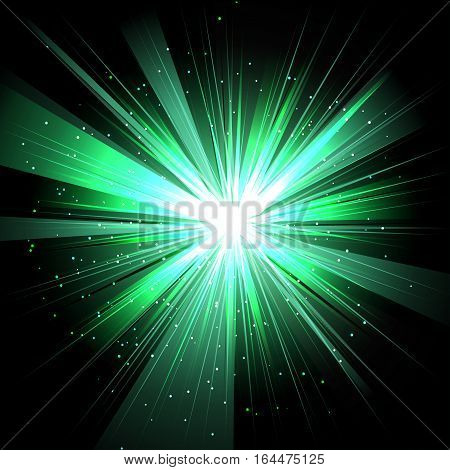 Star with rays white green in space isolated and effect tunnel spiral galaxies nebulae cosmos on black background vector