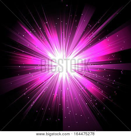 Star with rays white purple in space isolated and effect tunnel spiral galaxies nebulae cosmos on black background vector