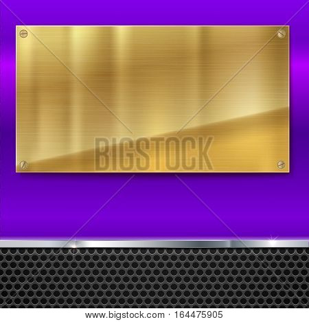 Shiny brushed metal gold, yellow plate with screws. Stainless steel banner on blue polished background with metal strip and black mesh, vector illustration for you