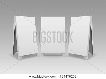Vector Set of Rectangular Empty Blank Advertising Street Handheld Sandwich Stands Sidewalk Signs Isolated on Background