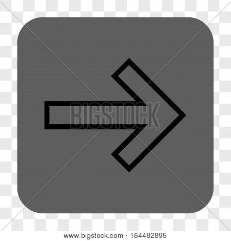 Arrow Right interface toolbar button. Vector icon style is a flat symbol in a rounded square button black and gray colors chess transparent background.