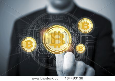 Bitcoin Trader Concept. Trading Bitcoin Cryptocurrency Conceptual Finance Illustration.