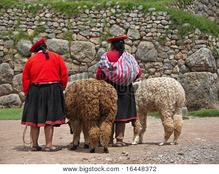 Peruvian Girls and Alpacas at Sacsayhuaman, Cusco Peru