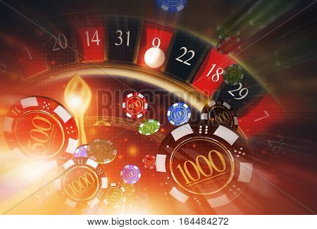 Lucky Casino Roulette and Casino Chips Concept 3D Rendered Illustration. Spinning Roulette Wheel and Blowing Chips Winner Concept.