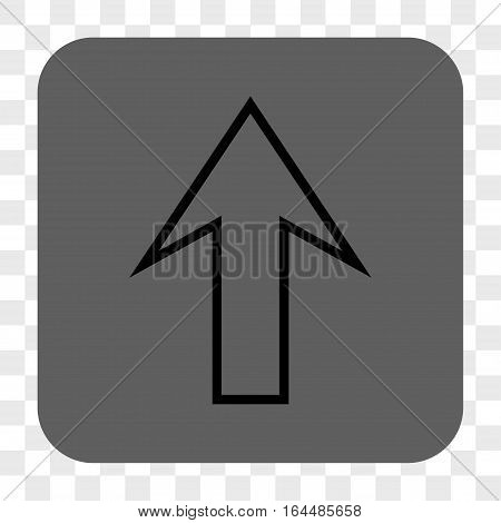 Arrow Up interface toolbar button. Vector icon style is a flat symbol in a rounded square button black and gray colors chess transparent background.