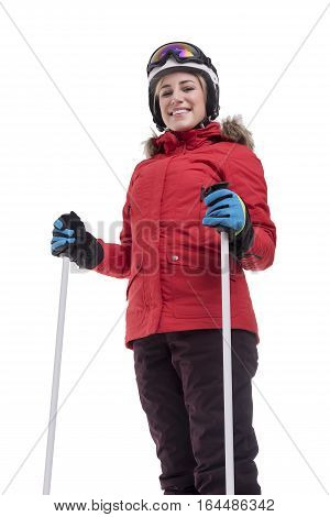 Attractive girl skier on white background. Sportswoman in a red jacket in a ski suit.