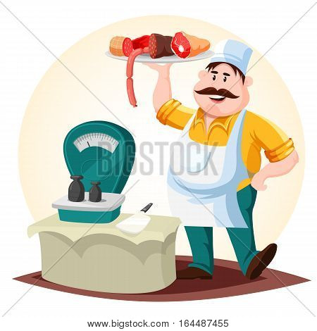 Meat shop worker with sausage and pork ham. Cartoon male trader with meat products near counter with cleaver or knife, weigher or scale, weight or poise. Store or market, meat product retail theme