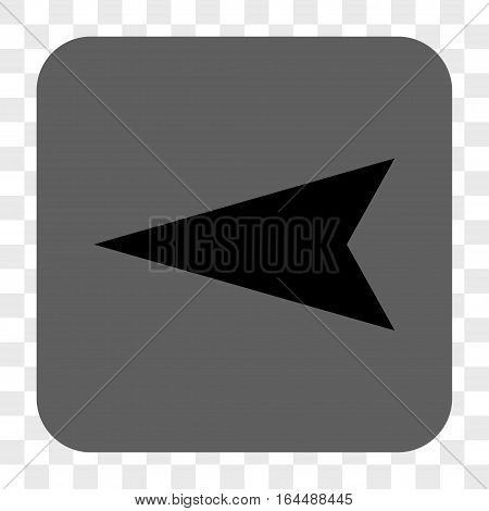 Arrowhead Left interface toolbar button. Vector icon style is a flat symbol in a rounded square button black and gray colors chess transparent background.