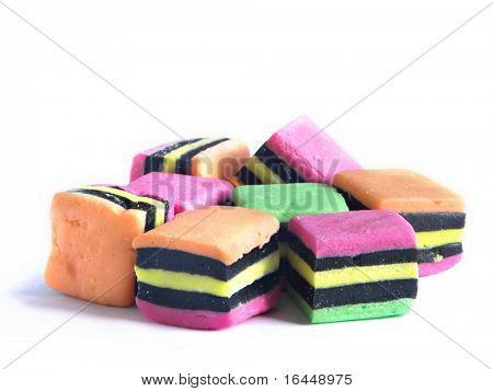 Licorice allsorts isolated on white background