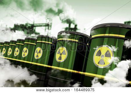 Radioactive Hazardous Waste. Toxic Waste in Metal Barrels Stored in Toxic Factory. 3D Rendered Elements.