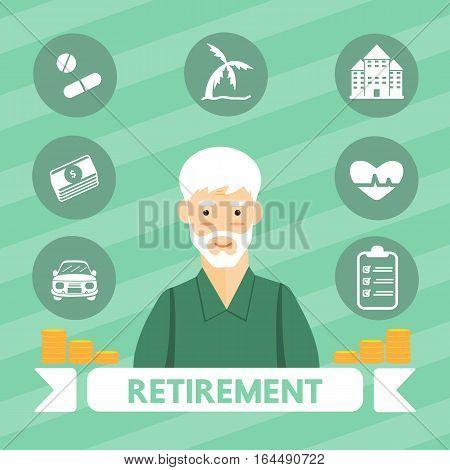 Retirement vector cartoon design for business .