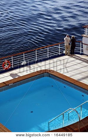 Elderly couple on a cruise ship