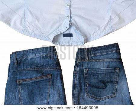 Fashionable Men's Jeans Wear Isolated On White Background.