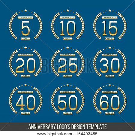 Vector set of anniversary symbols. 5th, 10th, 15th, 20th ...