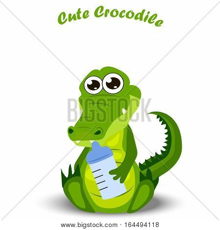 Very high quality original trendy illustration of a baby crocodile or alligator with diaper
