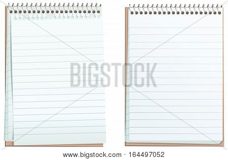 Two illustrations of a typical blue lined note pad. One note pad has a torn top sheet.