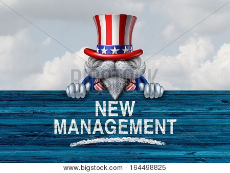 American political government change and new United States administration as a patriotic character holding a sign with text with 3D illustration elements.