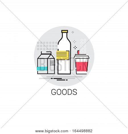 Fresh Dairy Food Goods Shop Icon Vector Illustration