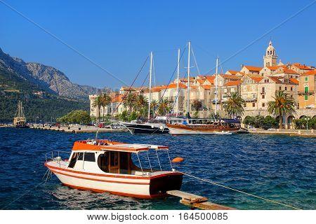 Motorboat Anchored Near Korcula Old Town, Croatia
