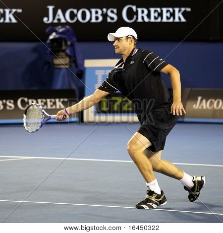 MELBOURNE, AUSTRALIA - JANUARY 17: US tennis player Andy Roddick during a charity tennis exhibition for the victims of the Haiti earthquake, in Melbourne Australia on January 17, 2010.
